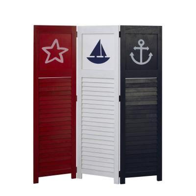3 részes paraván, tengerész mintával, színes - PETIT NAVIRE